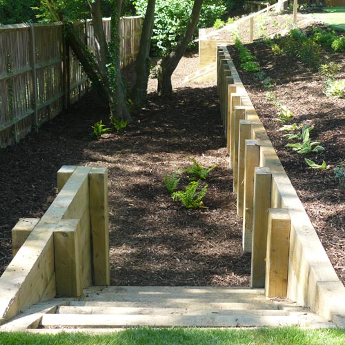 Timber steps and retaining walls