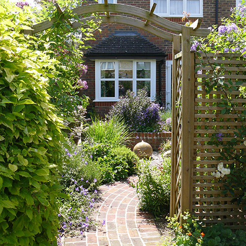 Garden views framed through an arch