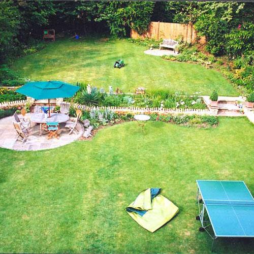 Family garden design  Hertfordshire garden designed to provide areas